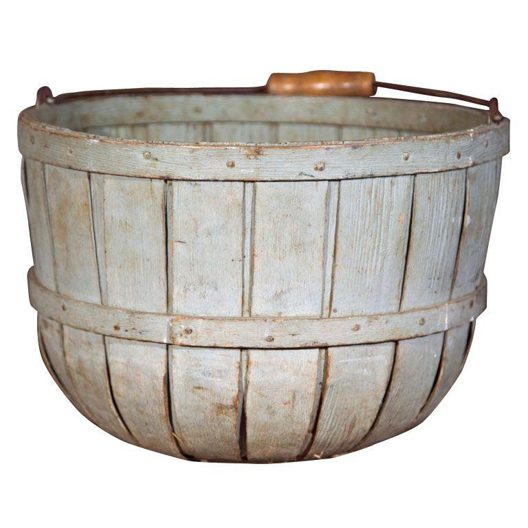 Antique bluish-grey wood orchard basket