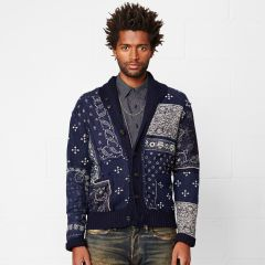 Cardigan patchwork tinto indaco - Denim & Supply Maglieria - Ralph Lauren France