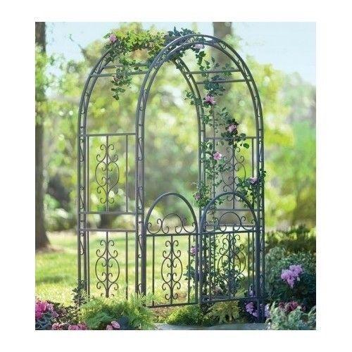 Garden Arbor W/Gate Bronze Iron Trellis Arch Archway Patio Lawn Ornament  Metal