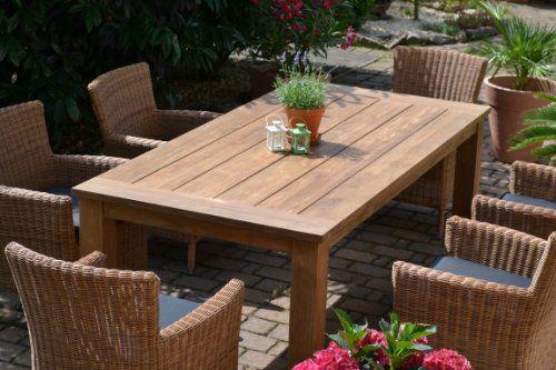 Teak Sitzgruppe Garten Garnitur Tisch 200 100 Und 6 Sessel