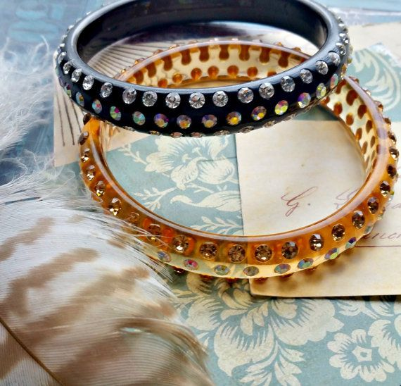 Awesome Vintage Lucite Bangle Bracelet Wide Thick Black With Gold Foil Leaves