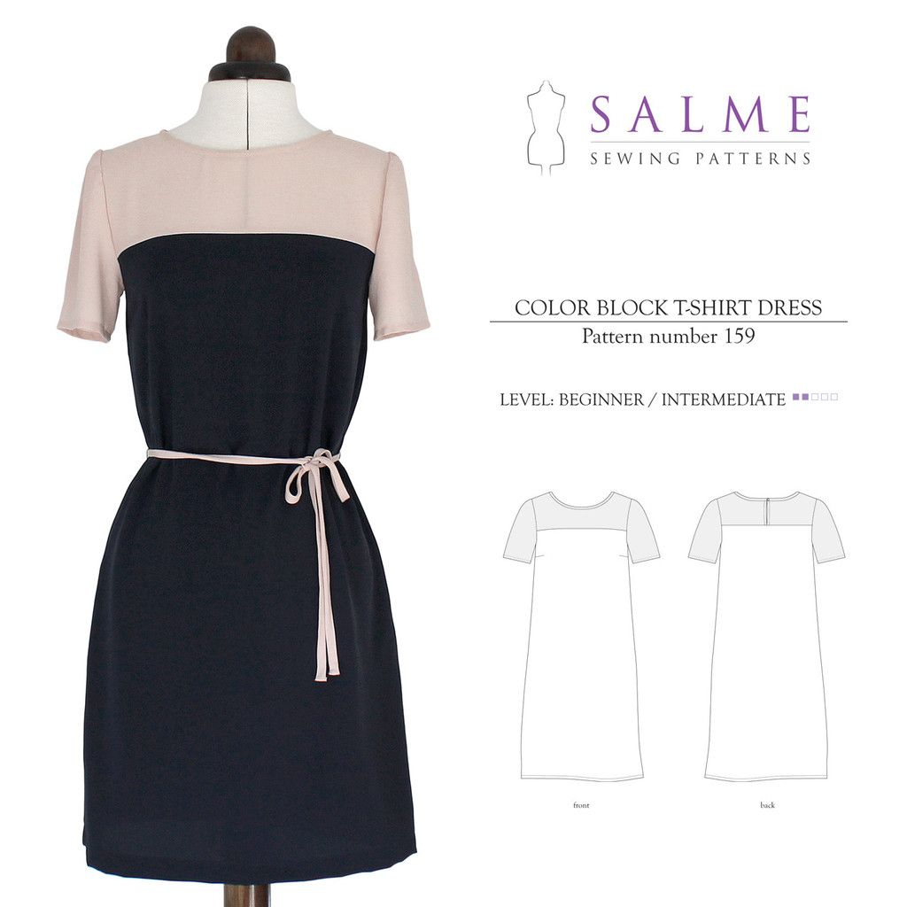 Color Block Dress Beginner Sewing Pattern | Salme Sewing Patterns ...