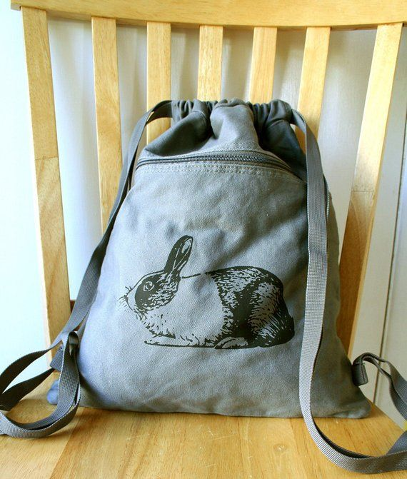 b7fa22719a4 Rabbit Canvas Backpack Bunny Bag Drawstring Backpack