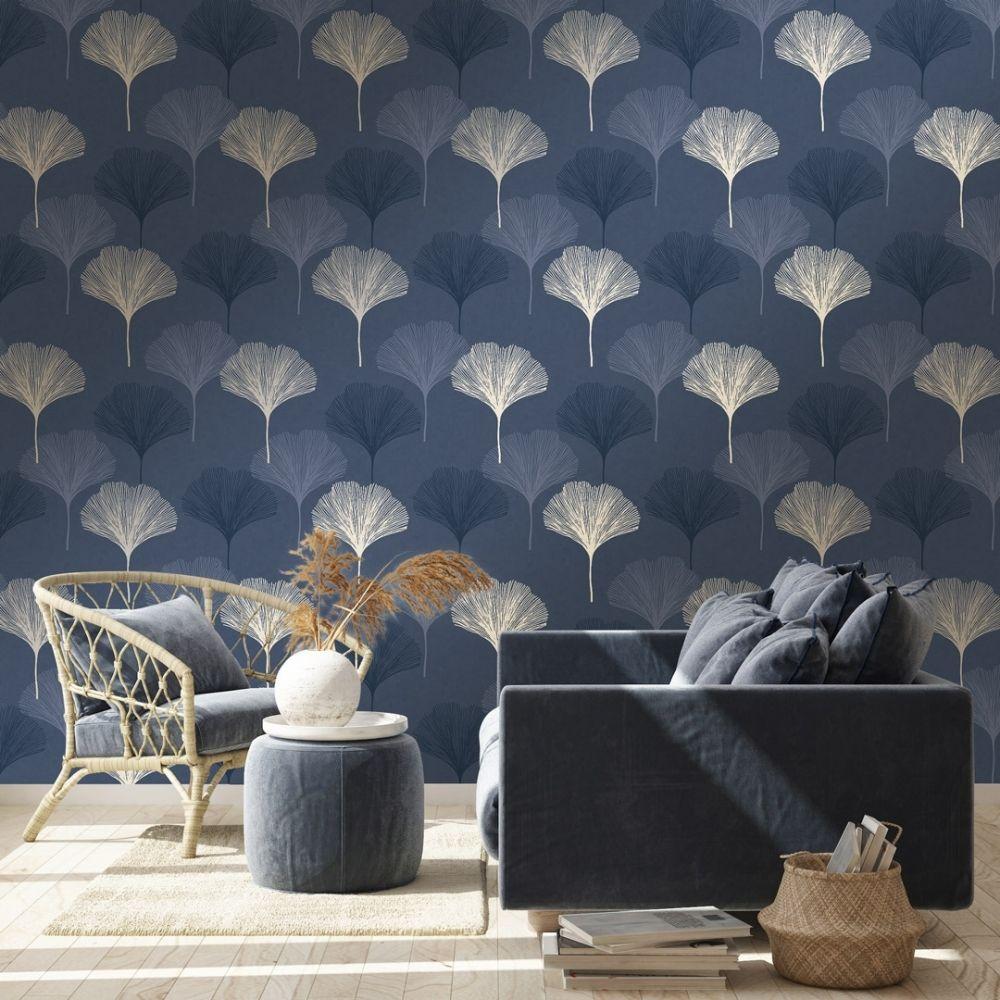 Gingko Leaf Wallpaper Navy Gold in 2020 Blue wallpaper