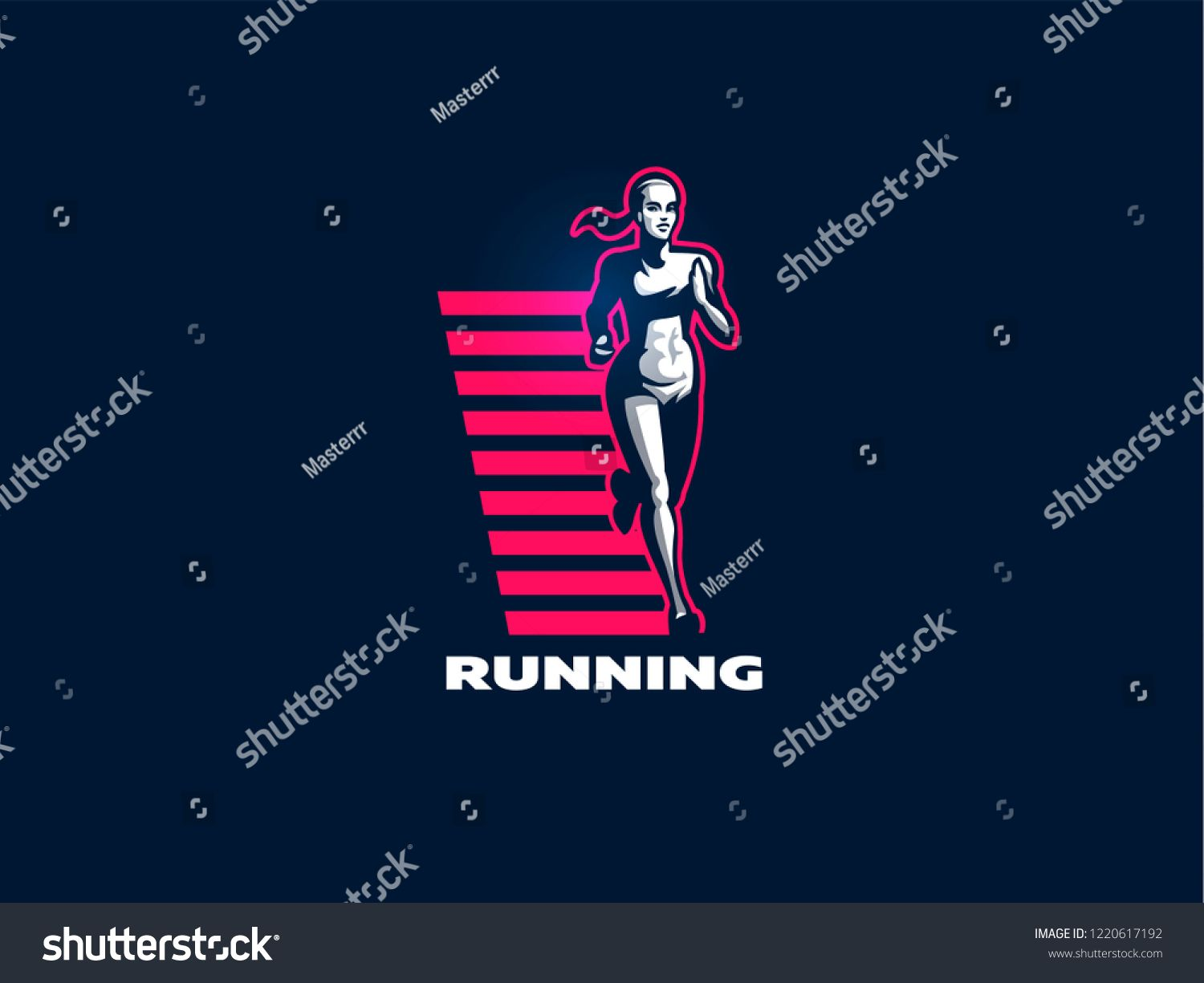Sporty muscular woman fitness emblem. Vector illustration. #Ad , #sponsored, #woman#muscular#Sporty#...