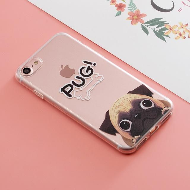SoCouple Pocket Dog TPU Phone case for iphone 7 5 5S SE For iphone 6 6s 6/7/8 plus X Funny BullDog Pug Pattern Silicone case #funnybulldog