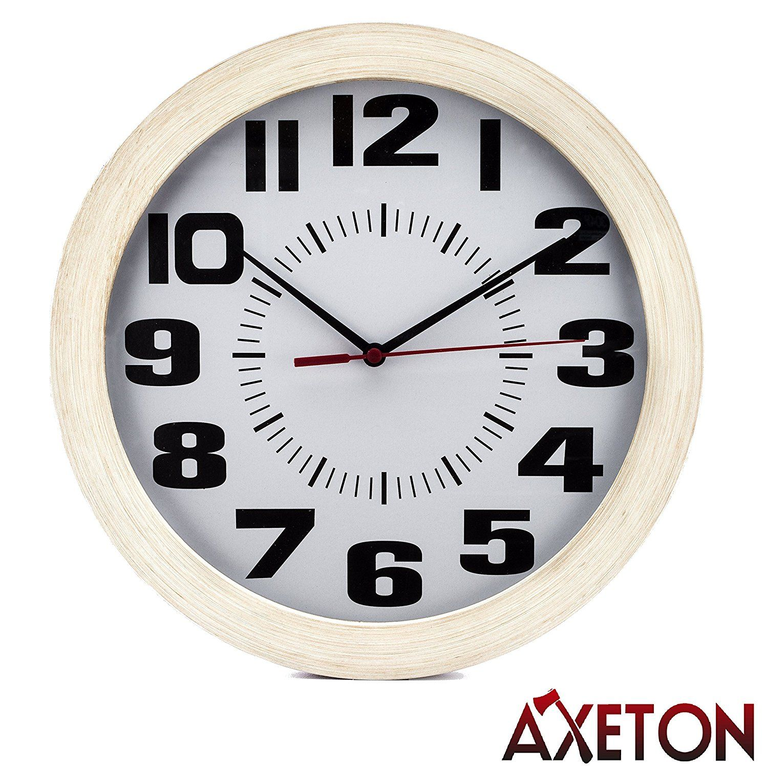 Axeton Round Wall Clock Classic And Vintage Style Wood Grain Finish 10 Inches Large Numbers D Wall Clock Vintage Style Vintage Wall Clock Round Wall Clocks