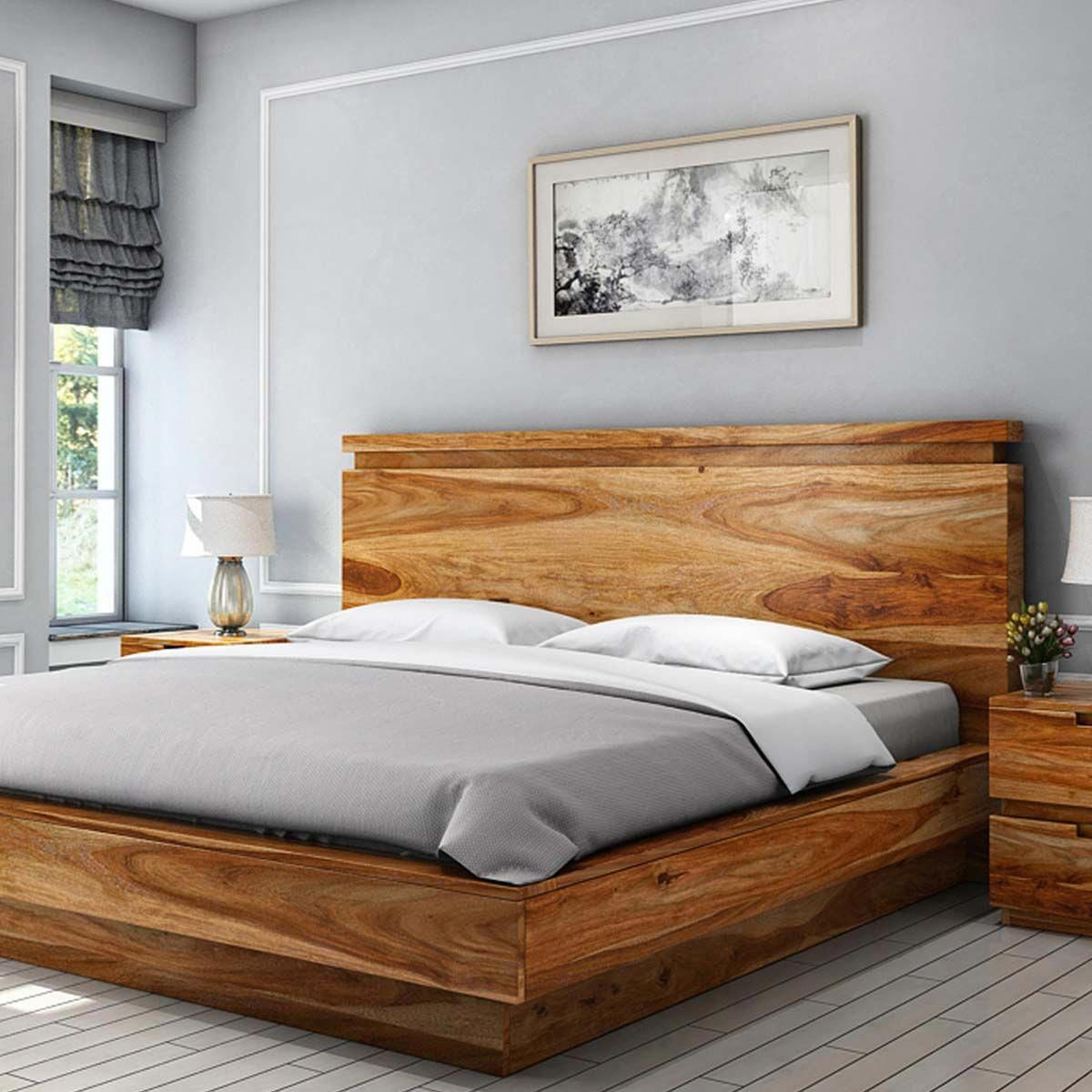Modern Simplicity Solid Wood King Size Platform Bed Bedroom