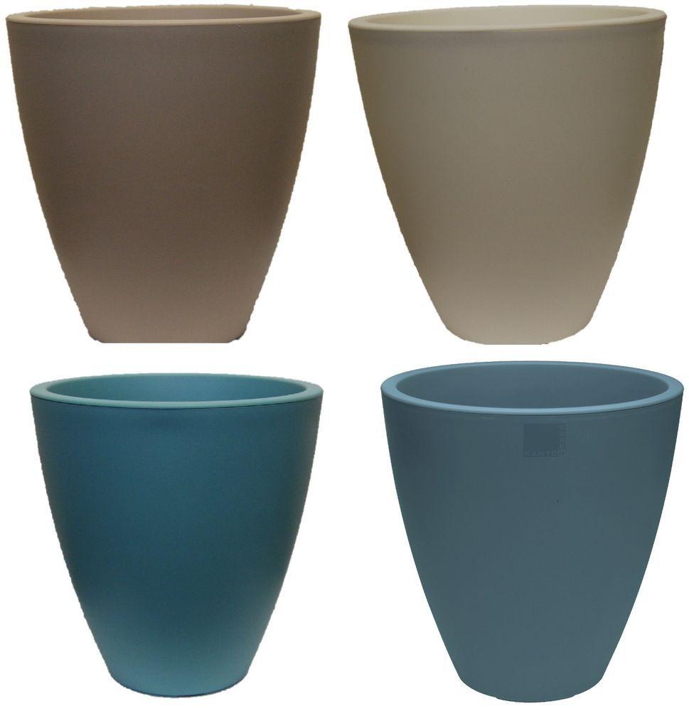 Tall Round Windowsill Plant Pots Planters Light Blue White Blue Beige 29 Cm Ebay Planting Flowers Plastic Plant Pots Planter Pots