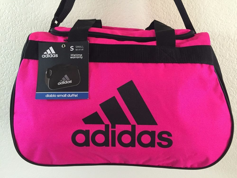 ADIDAS Diablo Small Duffel Women Pink Black Gym bag luggage 18.5
