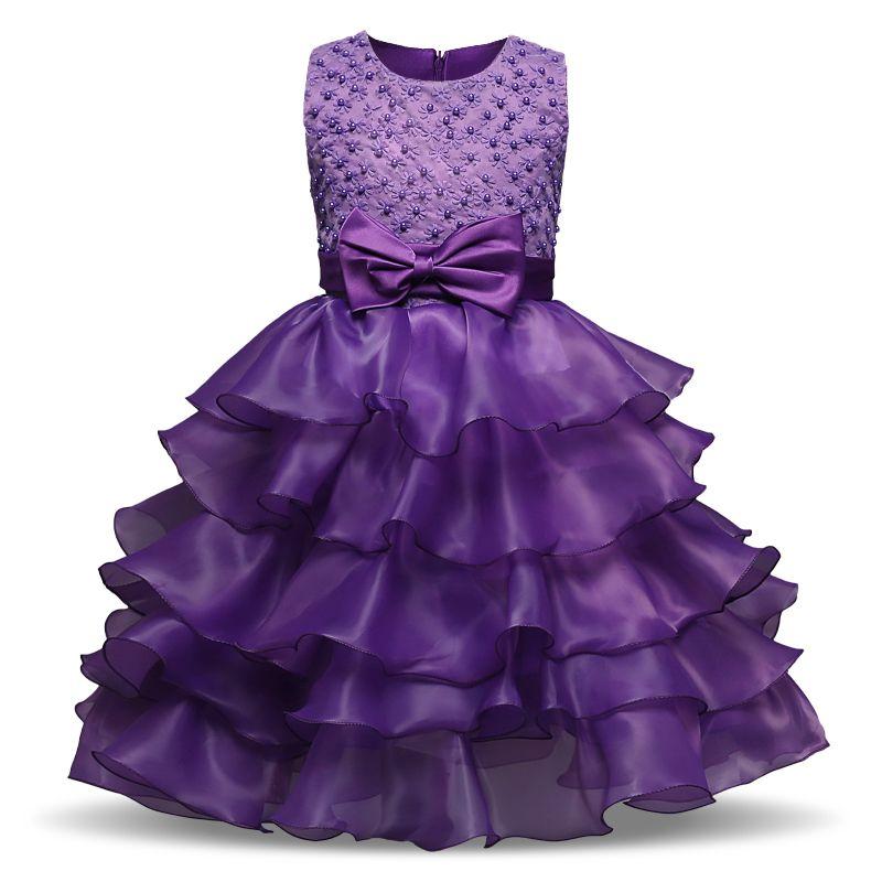 Summer Brand Kids Dresses For Girls Lush Ruffles Prom Gown ...