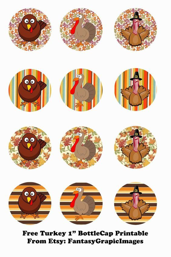 Free Thanksgiving Turkey Printable Bottle Cap 1 Circle Collage Sheets From Etsy Store Fantasygraphicimag Bottle Cap Crafts Bottle Cap Jewelry Bottle Cap Art