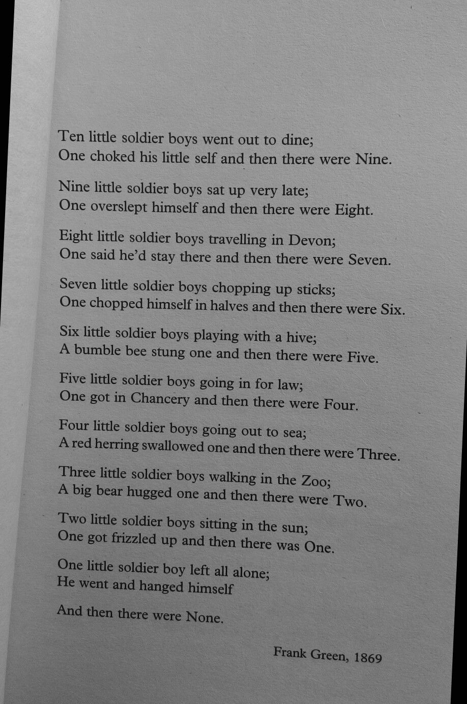 Christie Agatha Soldier Poem And Then There Were None Murder
