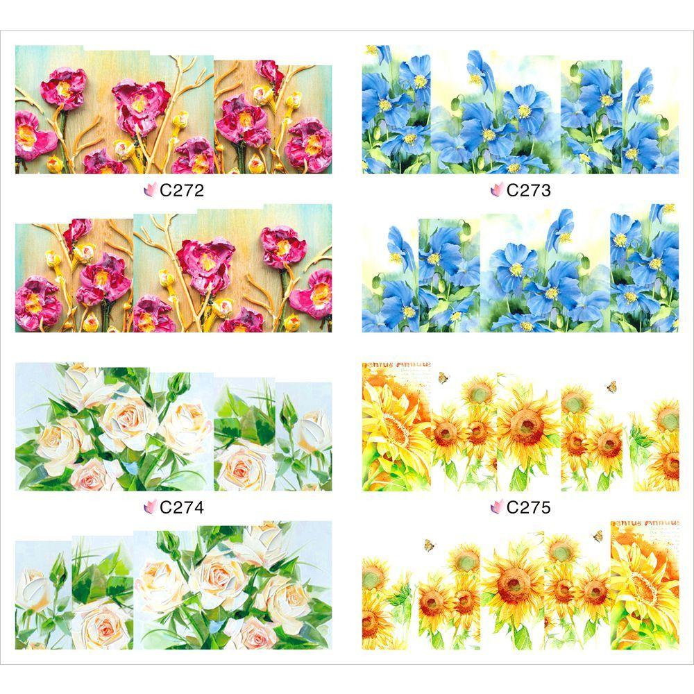 1 шт. красочный цветок слово дизайн ногтей наклейки DIY масло Piant наклейка для полного покрытия маникюр советы JH369купить в магазине Blueness DirectнаAliExpress