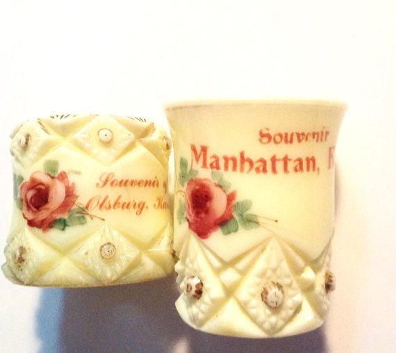 2 vintage Victorian custard glass souvenirs by sweetalicelovesyou