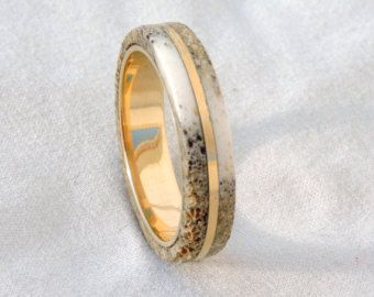 Deer Antler Ring in Titanium Band Hunters by jewelrybyjohan