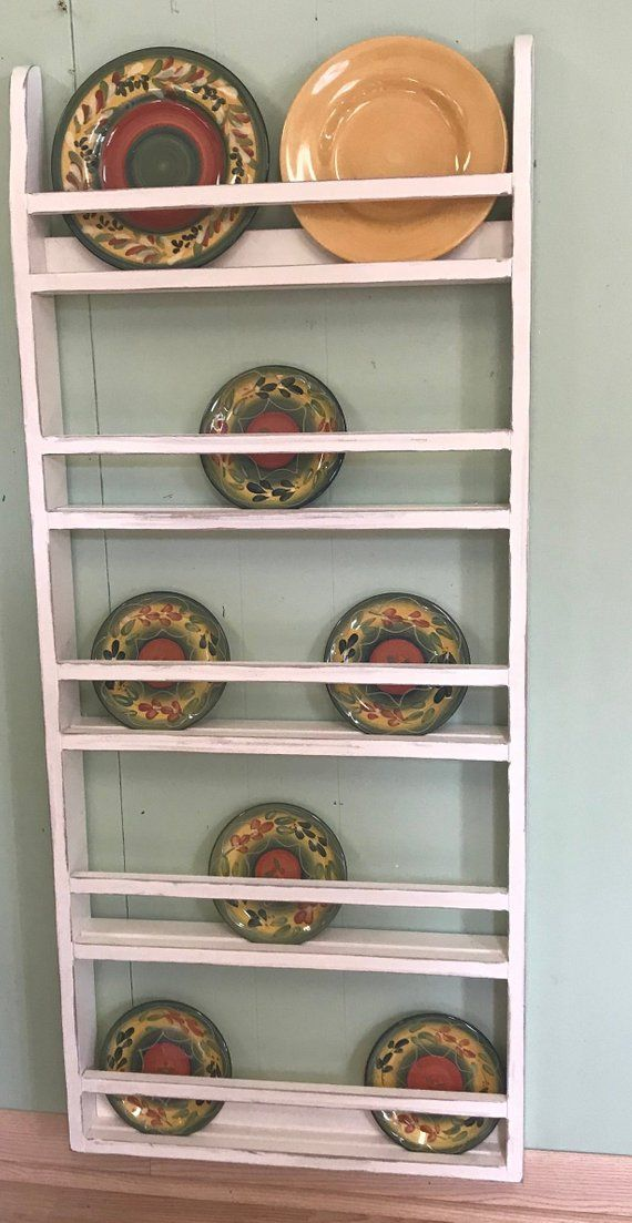 Farmhouse Plate Rack Wall Hanging, Country Rustic Plate Rack Stand #plateracks