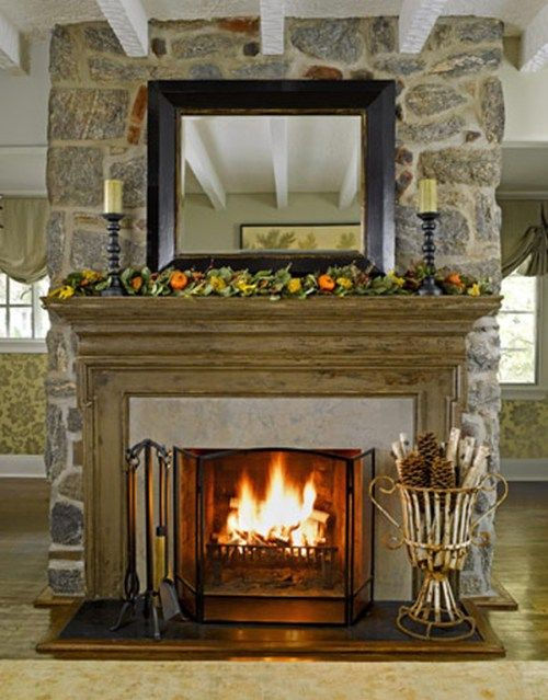 Refinished Fireplace Featuring Caromal Colours Mantels, Mantle and