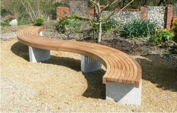 Gravel Patio with Curved Bench Bespoke backless curved seat with