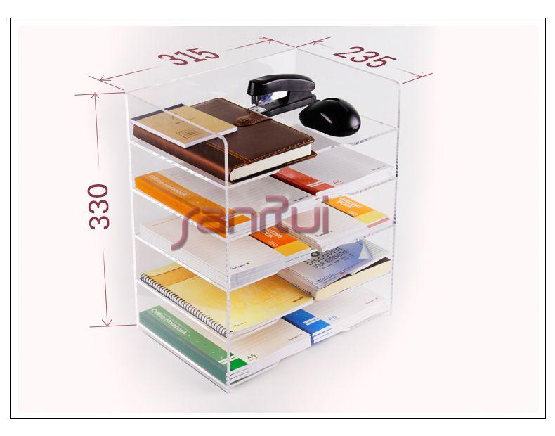 5 Shelf A4 Lateral File Storage Rack Transparent File Cabinet Baskets  Desktop File High