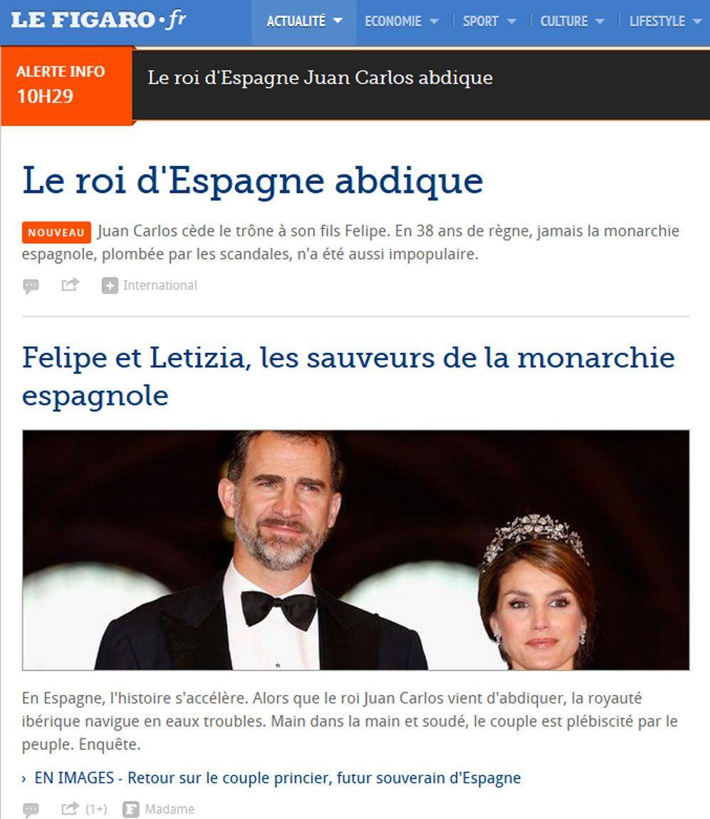 """La portada de Le Figaro otorga gran importancia a la sucesión. Para el diario francés, Felipe y Letizia son """"los salvadores de la monarquía""""."""