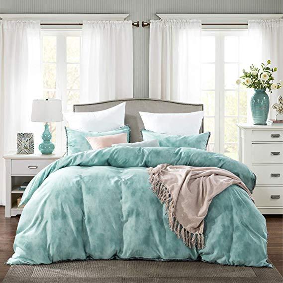 Amazon Com Chenfeng Duvet Cover King Set Turquoise Marble Striped 3 Piece Fringe 1x Duvet Cover 2x Pillowcases Bedding New Room King Duvet Cover Bedding Set