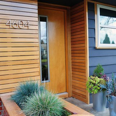 Midcentury Wood Slat Exterior Design Ideas Pictures Remodel And