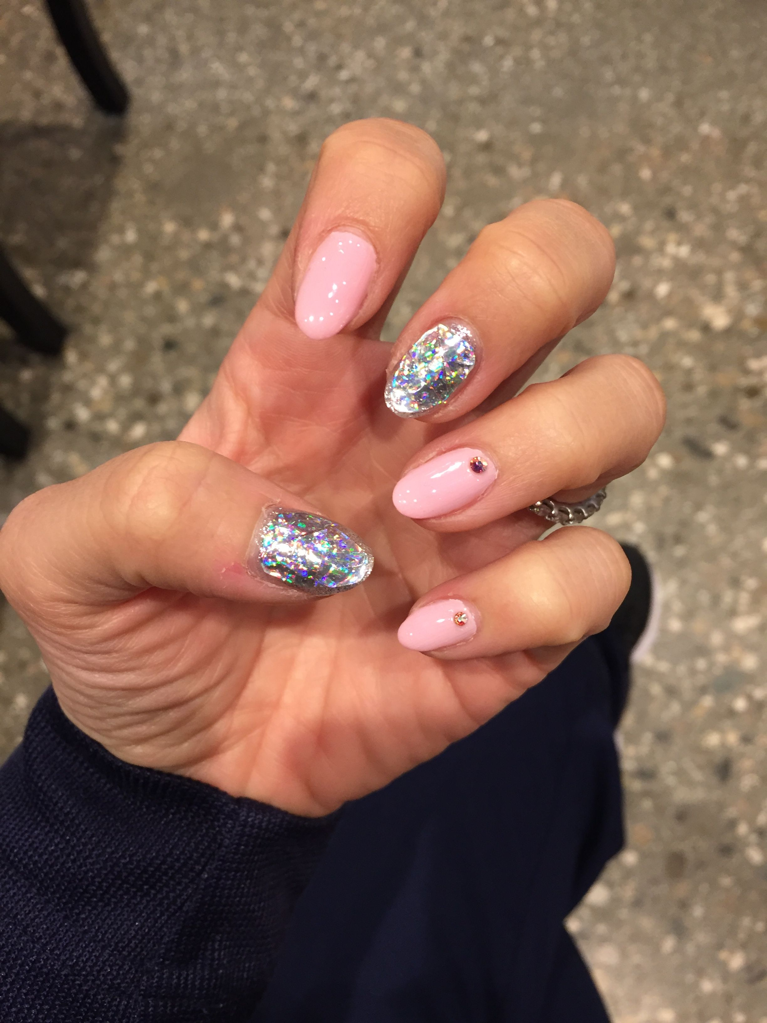 Korean Nail Trend Diamond Hologram Gel Nail Design With Swarovski