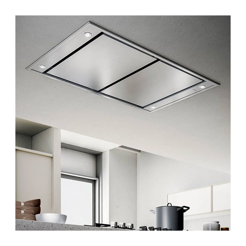 Elica Esnx43s2 Stainless Steel 600 Cfm 43 Inch Wide Island Range Hood With Remote Control And Halogen Lighting From The Siena Collection Island Range Hood Range Hood Ceiling Mount Range Hood