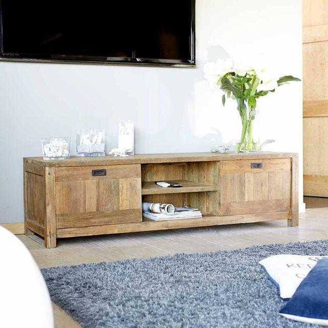 Meuble TV en bois de teck recyclé 160 CARGO Salons