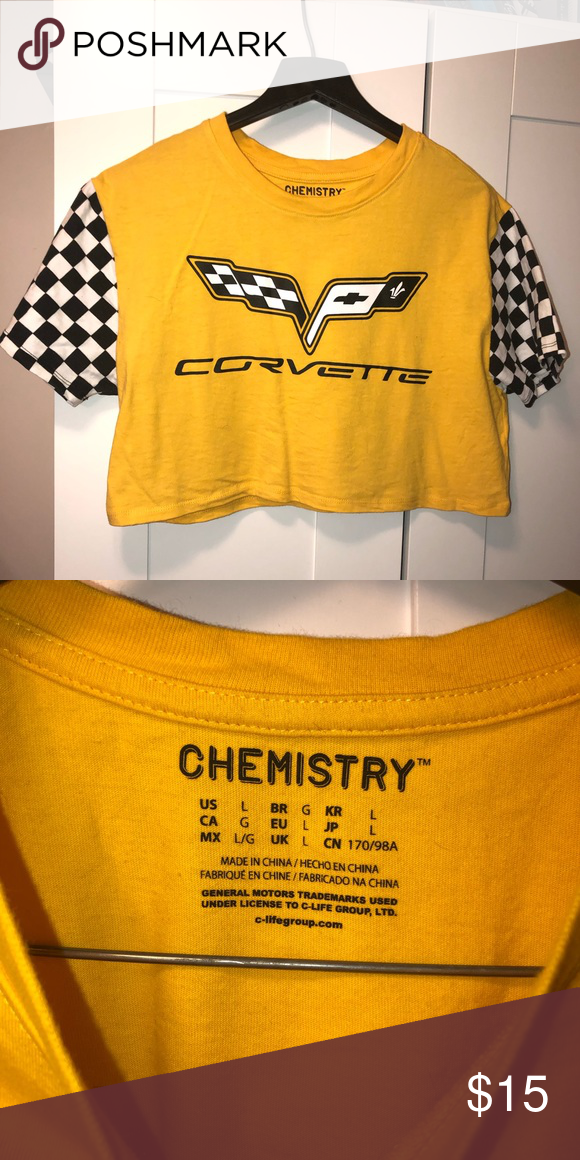 cc29b4c6518d71 Corvette yellow crop top worn once Worn once super cute for Instagram ✨  Forever 21 Tops Crop Tops