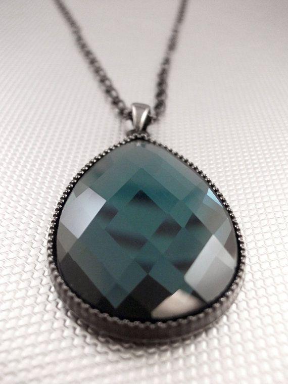 Steel Blue Glass Teardrop Pendant Necklace by arianaalysedesigns, $25.00