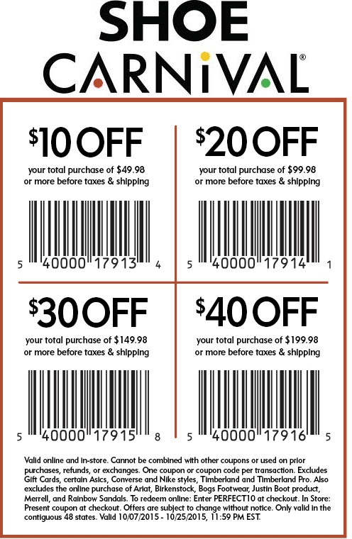 graphic relating to Shoe Carnival Coupon Printable referred to as Pinned Oct 13th: $10 off $50 additional at Shoe #Carnival or