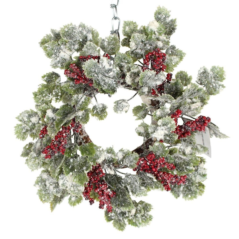 12 Inch Snow Sparkled Christmas Ivy Candle Ring with ...