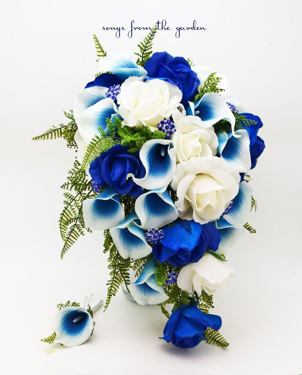 Cascade Bridal Bouquet Blue Picasso Callas White Royal Blue Roses