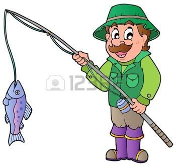 Sport Cartoon Cartoon Fisherman With Rod And Fish Illustration Free Cartoon Images Cartoon Images Cartoon Fish
