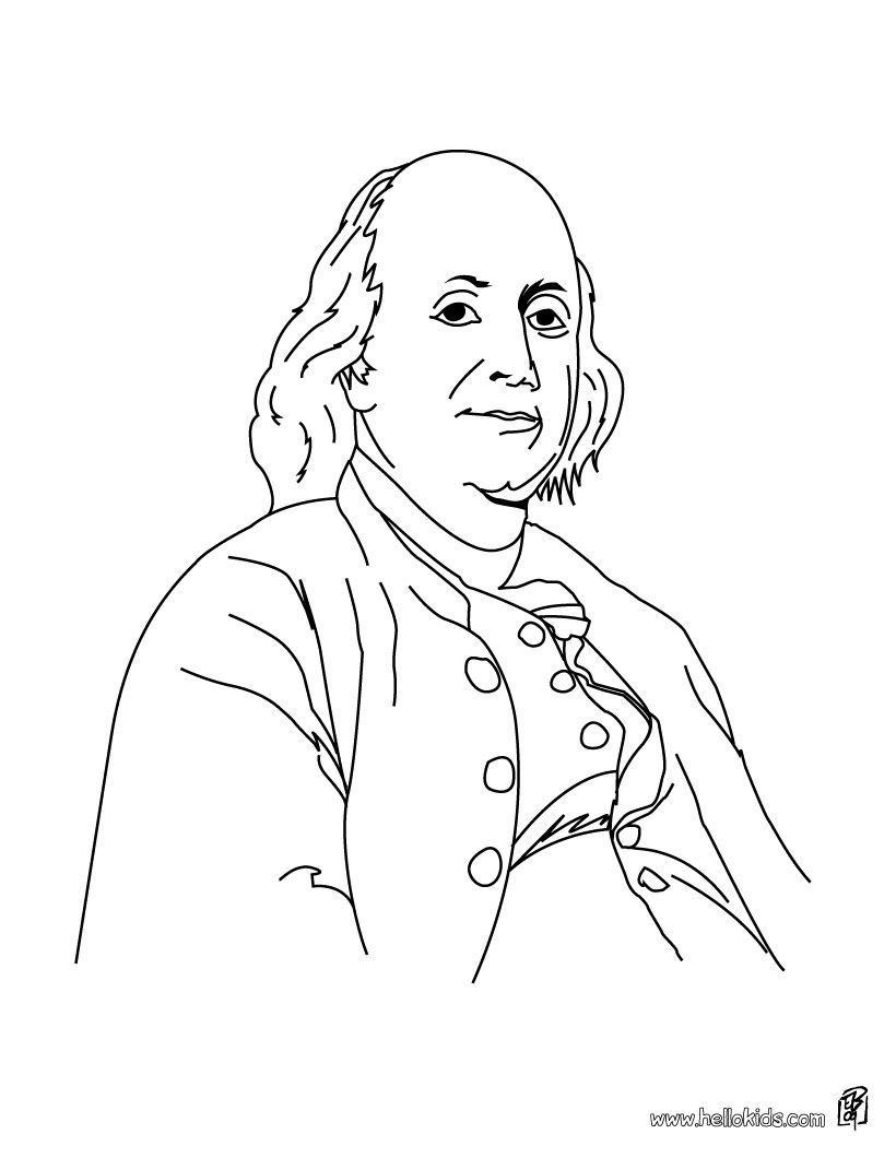 Benjamin Franklin coloring page. | Founding Fathers by Growing ...