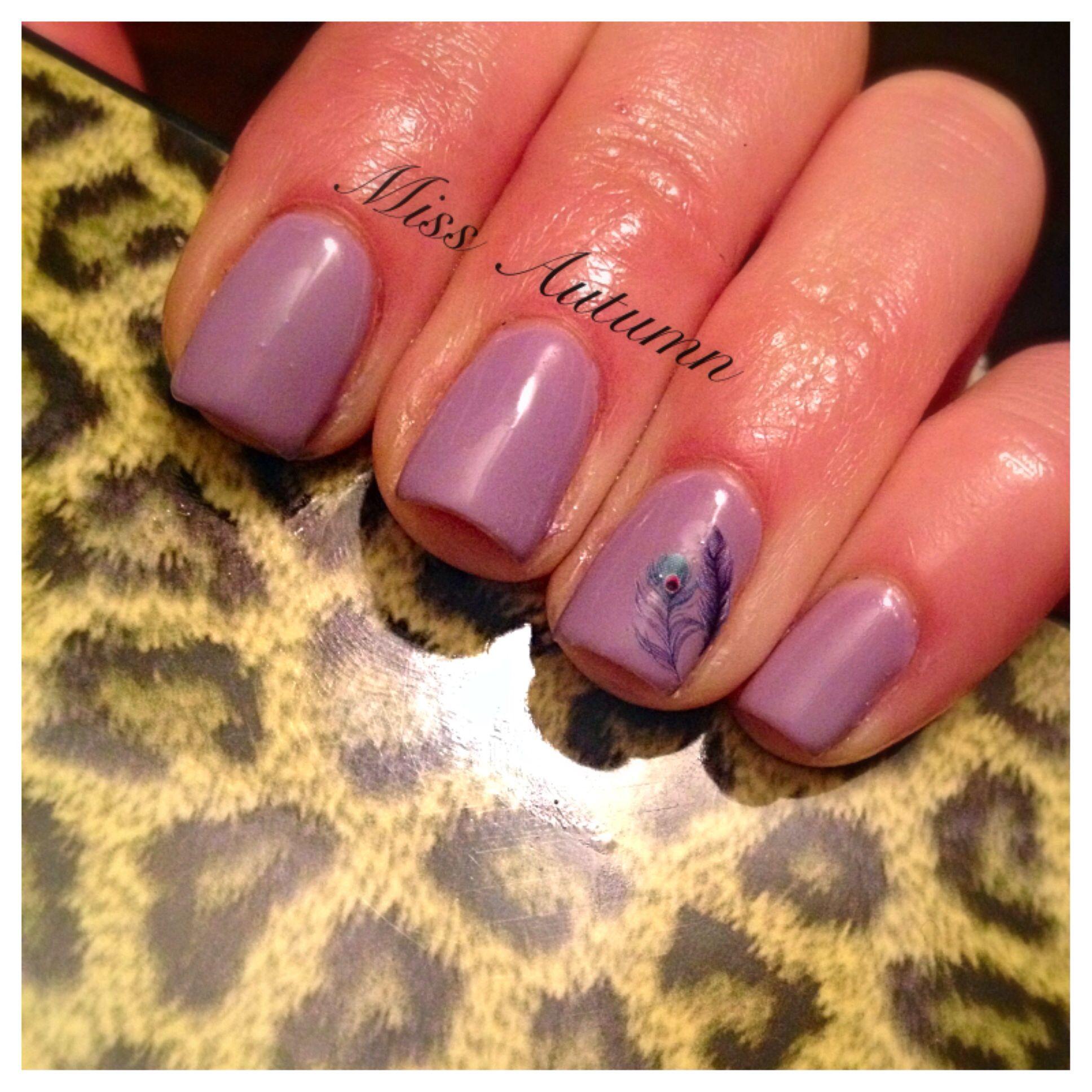 Lilac & Feathers. Pretty, simple, & clean.  #gelnails #naturalnails