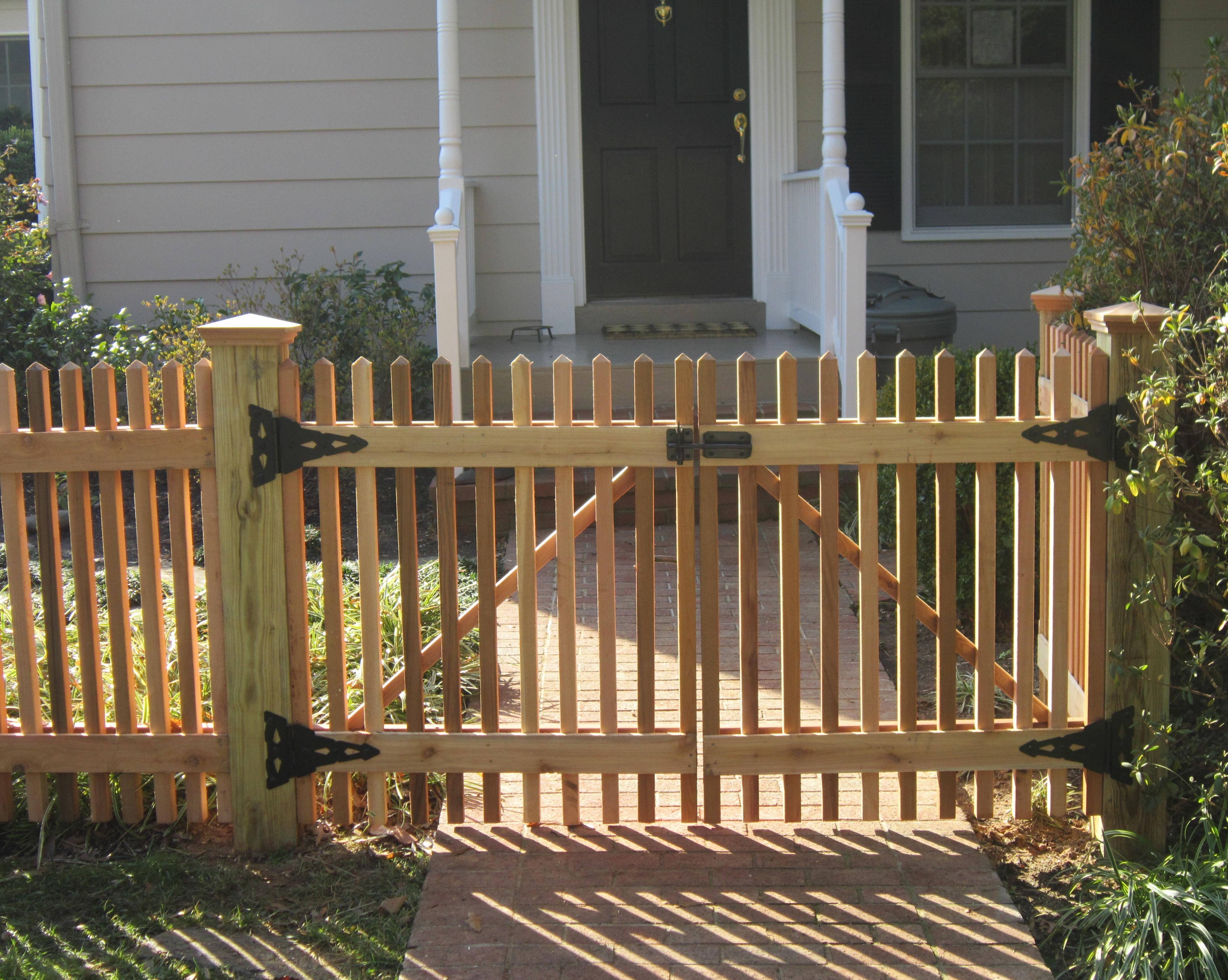 Wood Picket Fence Double Gate Poolesville Picket Style Wood Picket Fence Backyard Fences Wooden Garden Gate