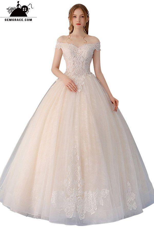 bb9c148c59c Unique Lace Off Shoulder Champagne Tulle Ballgown Wedding Dress Big ...