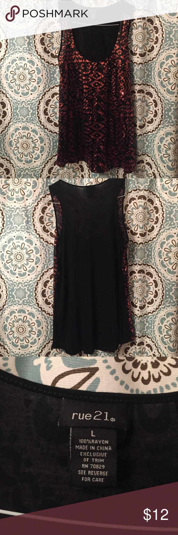 Rue 21 sequin studded red and black top Red and black sequin stuffed rue 21 phone. Size large but would work for a medium or large. Can dress up or down. Never worn, soft material, and great condition. Make an offer! Rue 21 Tops