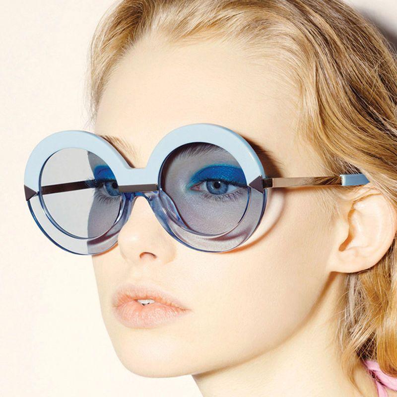 Oversized Round Women Sunglasses Mirrored Lenses Large Frame Fashion Glasses   #Autumn #Round #Sunglasses