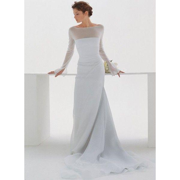 Modern long sleeves boat neck train wedding dress star for Boat neck long sleeve wedding dress