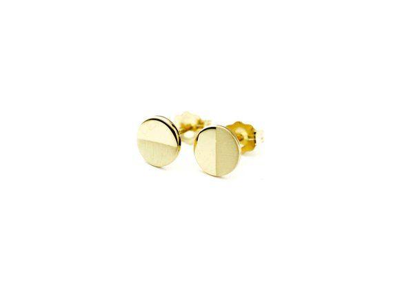 ef151c0ed2b Circle Disk Earrings 14k | Minimal Half Matte Brushed Stud Earrings ...