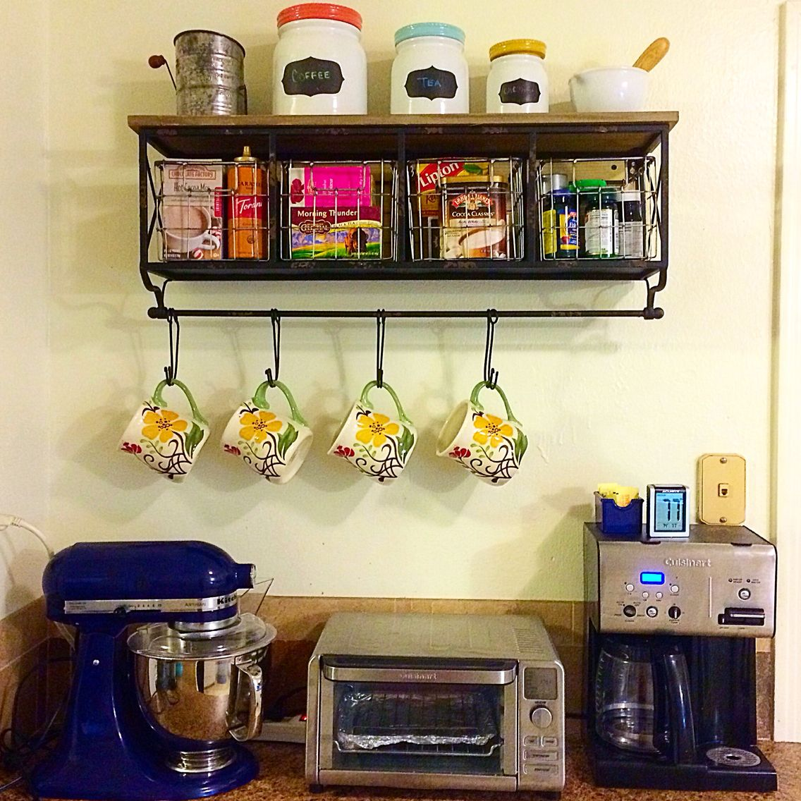 Pinterest inspired coffee bar. Metal rack from Hobby Lobby. | Future ...