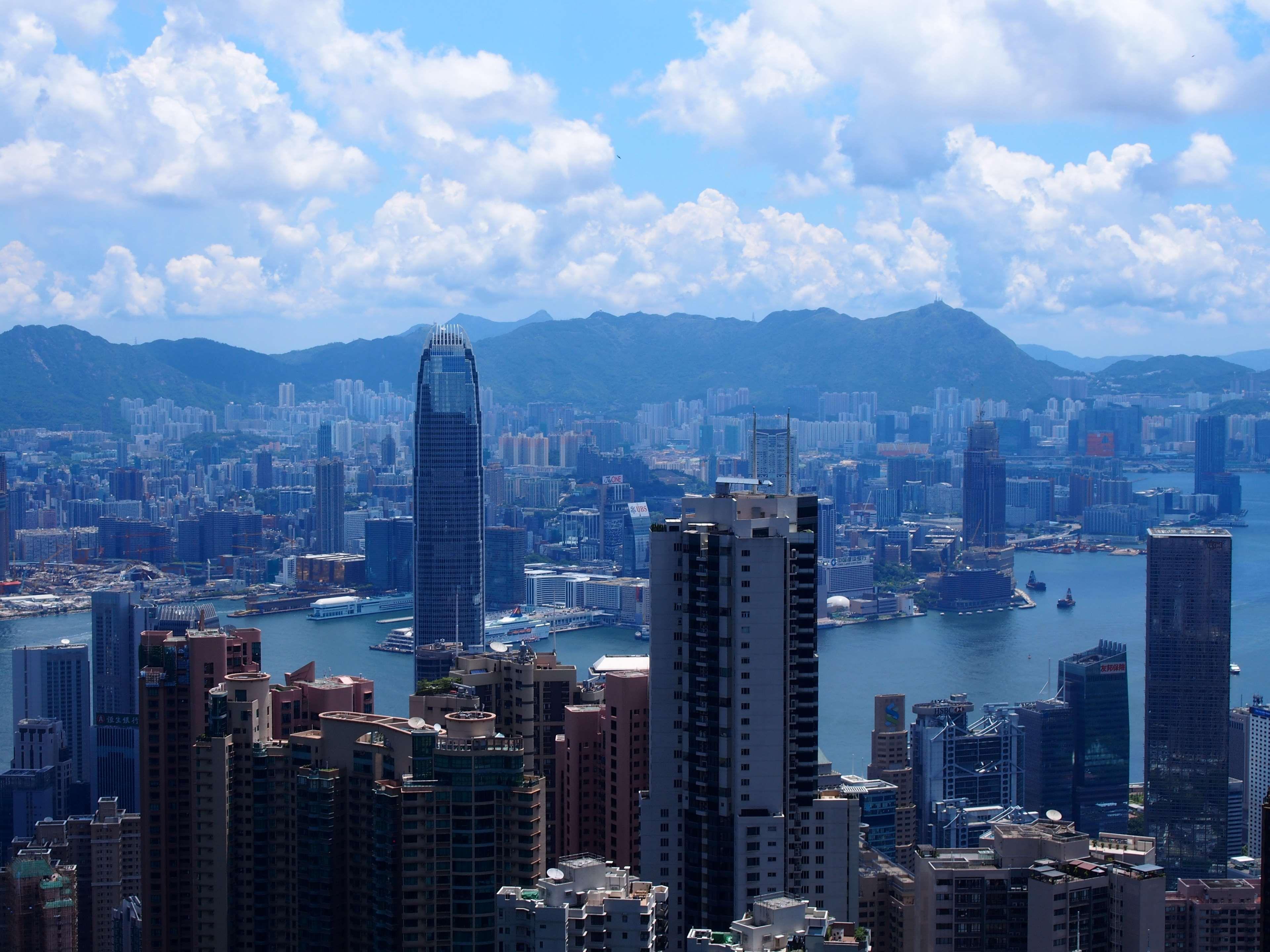Blue Sky City Cityline Cityscape Cityscrapers Cityview Cloudy Sky Coast Mountains Hongkong Mountain Skyline Skyscraper Skys Skyline Cityscape City