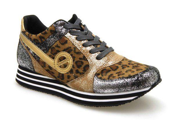 Baskets compensées NO NAME PARKO JOGGER Gold / Leopard - Chaussures femme