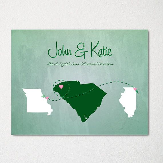 Custom Wedding Map Art Print / Modern Bachelorette Decor / Wedding Gift / Engagement Gift / Couples Marriage Decor / Any Color Available