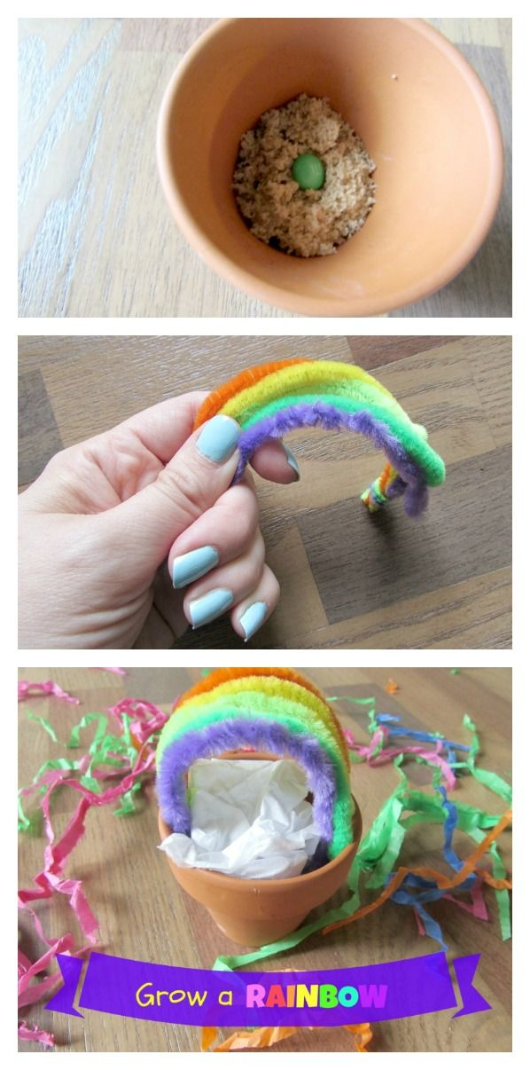 Kids can learn how to grow a rainbow with this fun craft. Plant a seed and grow the pretend rainbow. Fun craft for kids for St. Patricks Day!