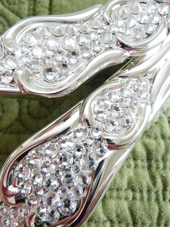 Crystal cake knife and server set embellished with